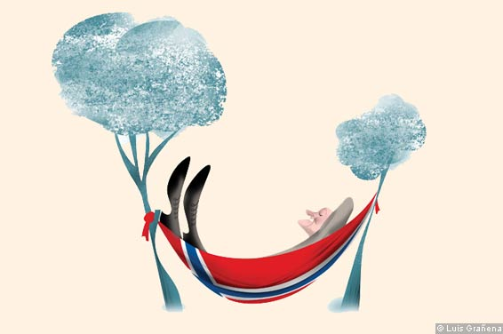 Illustration showing a man sleeping on a Norwergian flag as a hammock