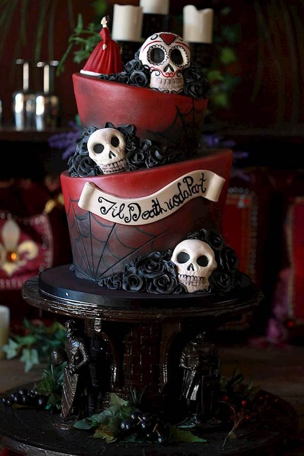 Caz and Grants Red  Black Wedding with Tim Burton Inspired Cake  Misfit Wedding