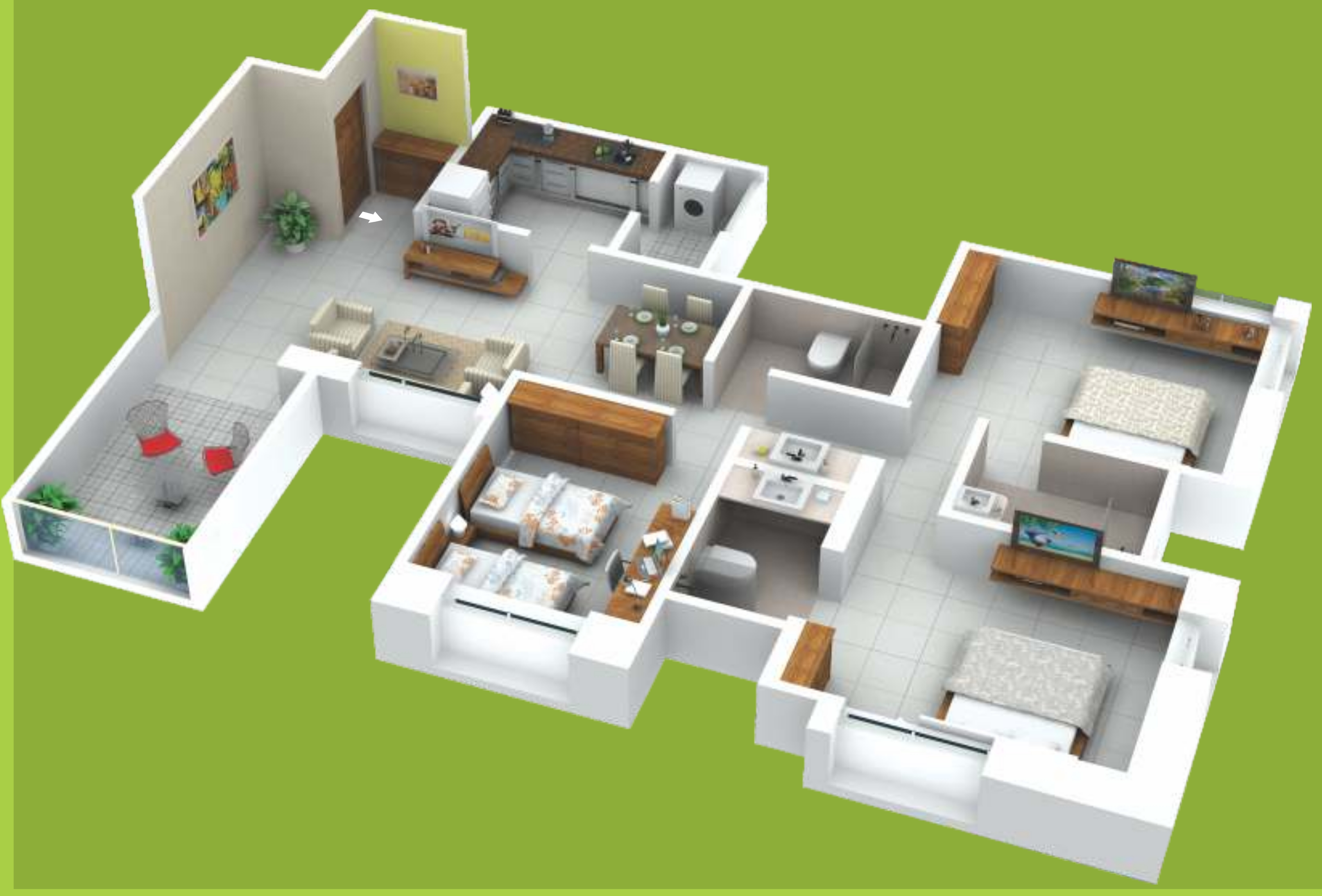 1400 sq ft 3 BHK 3T Apartment for Sale in Mont Vert One Wakad Pune