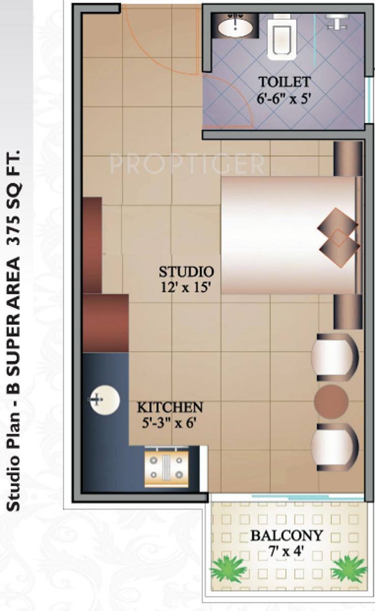375 square feet
