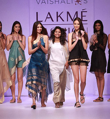 Vaishali Shadangule (centre) at Lakme Fashion Week, Summer-Resort 2011