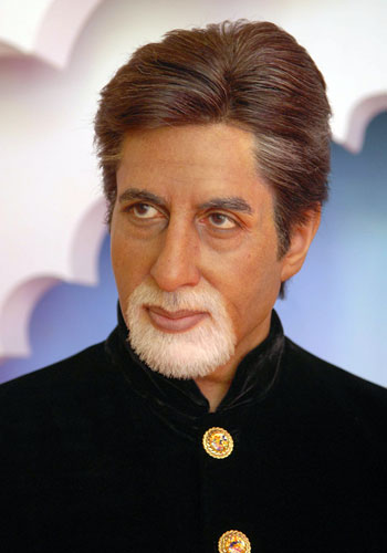 A close up of the wax figure