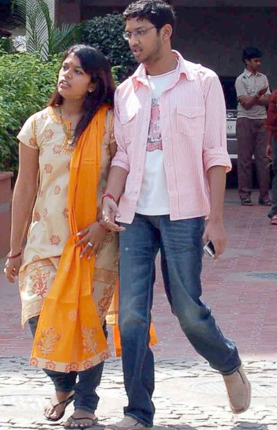 Chiranjeevi's daughter Srija with her husband Sirish outside Hyderabad airport