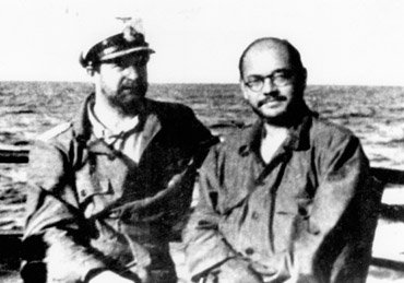 Subhash Chandra Bose with Captain Mausenberg, with whom he made a submarine voyage from Europe to Asia in 1943. (Image source and courtesy - im.rediff.com). Click for larger image.
