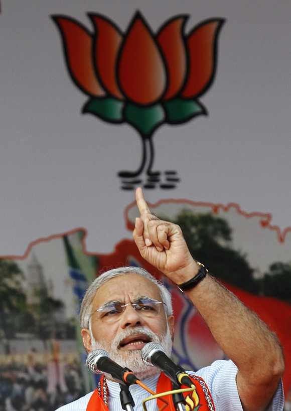 Gujarat Chief Minister Narendra Modi addresses BJP workers