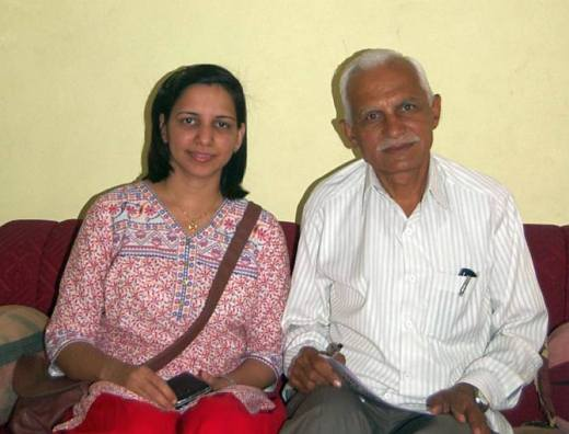 Dr Kanubhai Valabhai Kalsaria, AAP candidate from Bhavnagar Lok Sabha constituency, with his daughter Dhruti