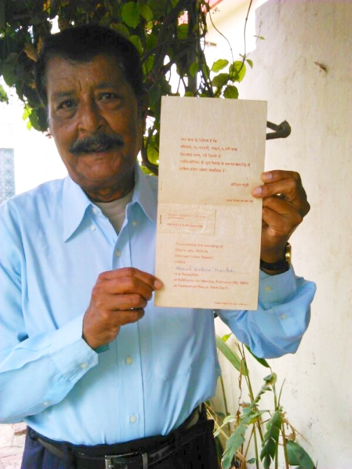Basil Nathan Poses With The Wedding Invitation That Indira Gandhi Sent His Mother Victoria In 1968