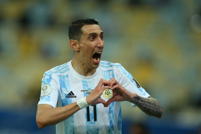 Angel Di Maria celebrates after putting Argentina ahead during the final of Copa America final against Brazil, at Maracana Stadium in Rio de Janeiro, Brazil, on Saturday.