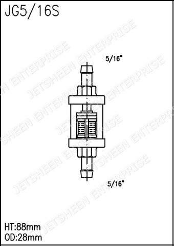 Chrome and Glass Inline Fuel Filter for Motorcycle Cruiser