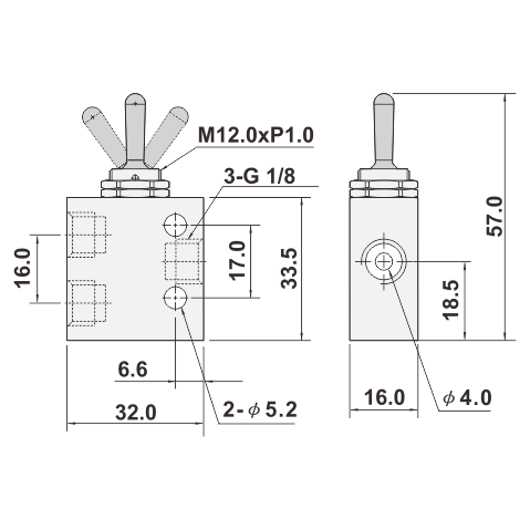 Taiwan 3/2 WAY MECHANICAL VALVE, PNEUMATIC THREE WAY VALVE