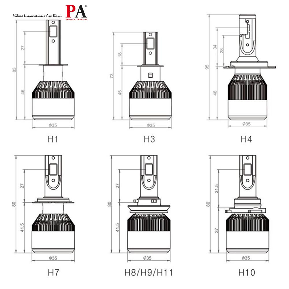 PA 1 set C6 COB LED Car Headlight Bulb 60W Power Adaptor