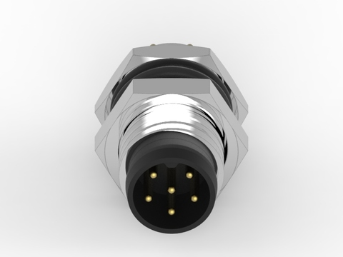 M8 公頭 6PIN 前鎖插板式防水連接器(Lock:M8*1.0)-臺灣經貿網
