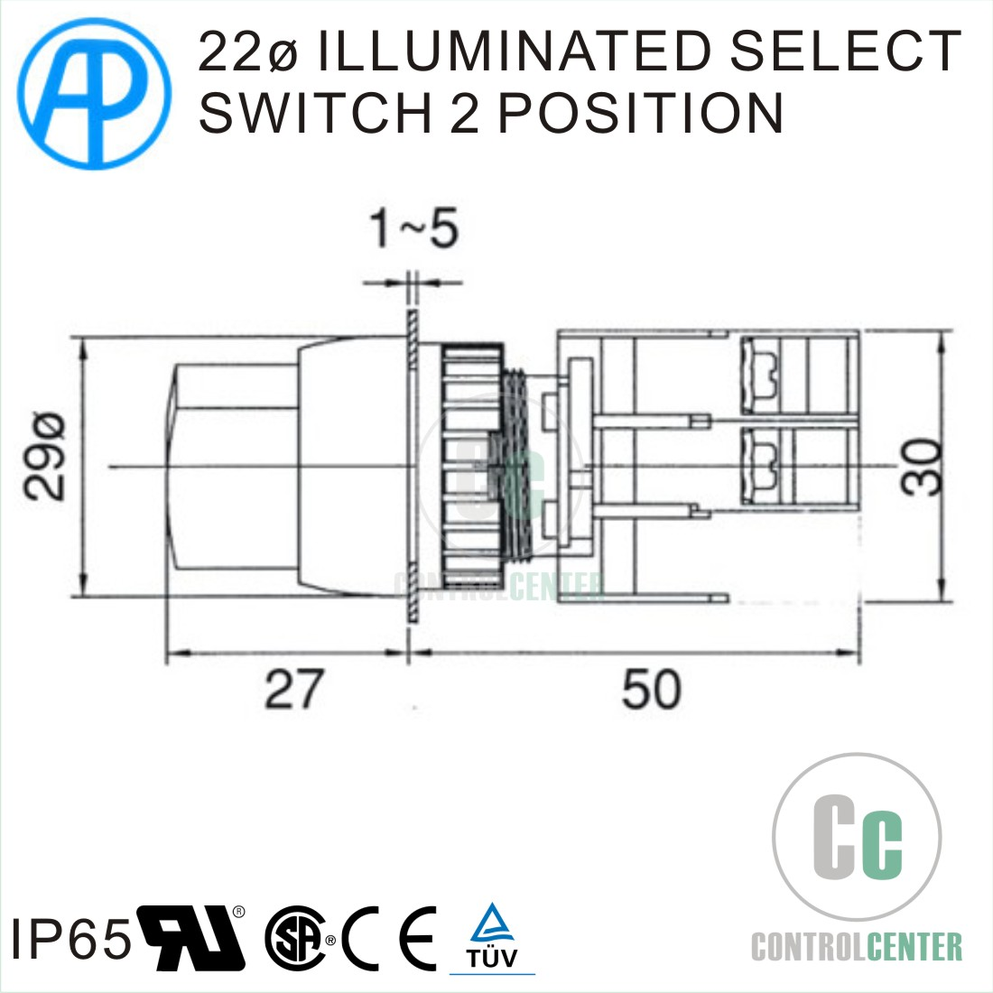 22mm Illuminated Select Switch 2 Position Silver Ring Knob