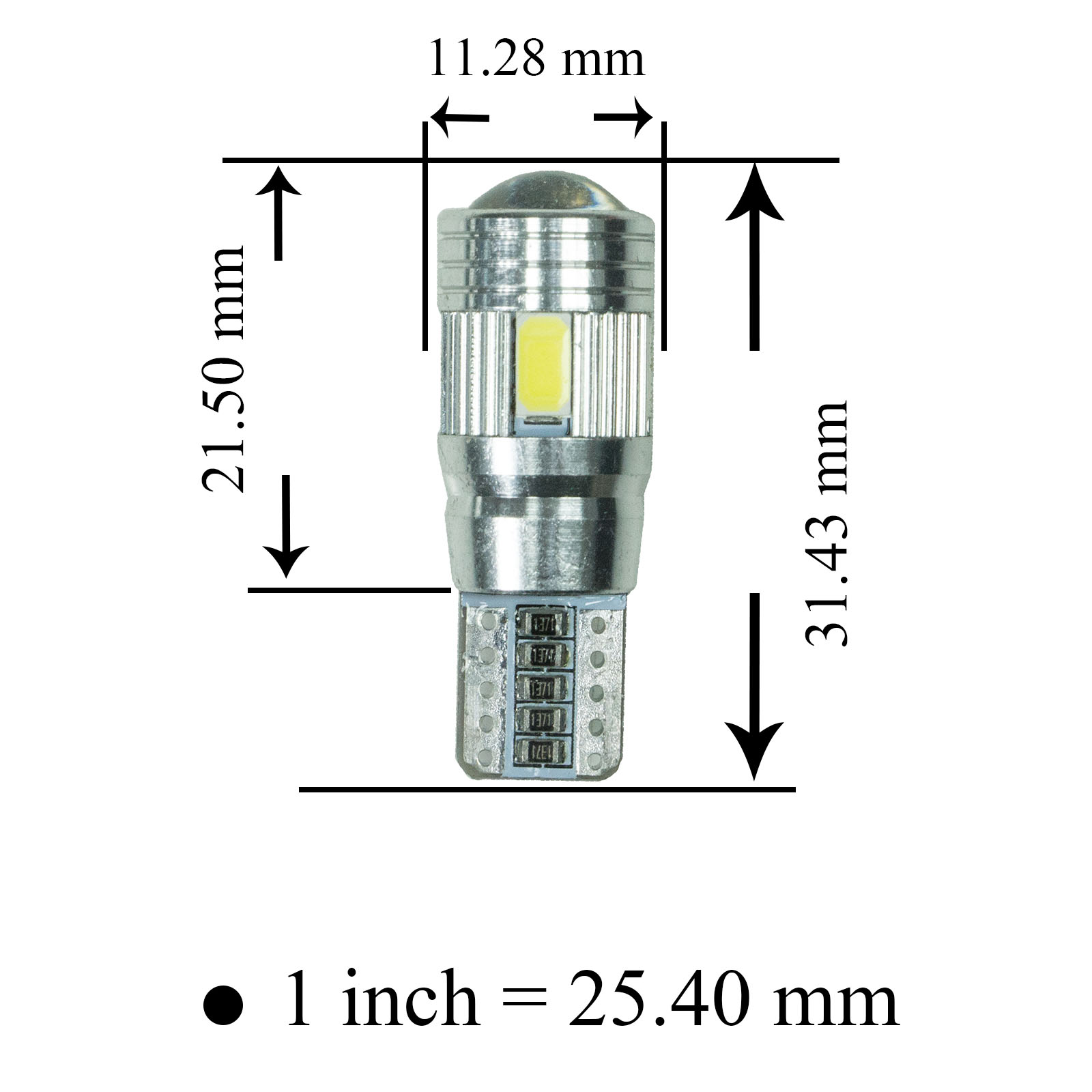 Taiwan T10 Led Tail Light 6 Smd 12v White Sidelight