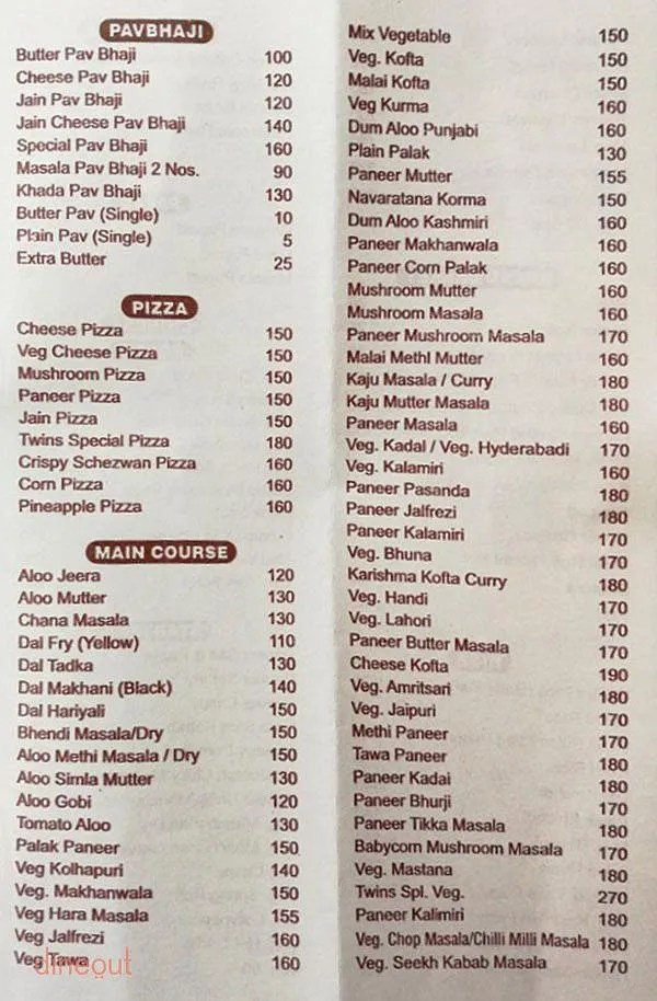 Menu Of Hotel Twins Thane East Central Mumbai Dineout