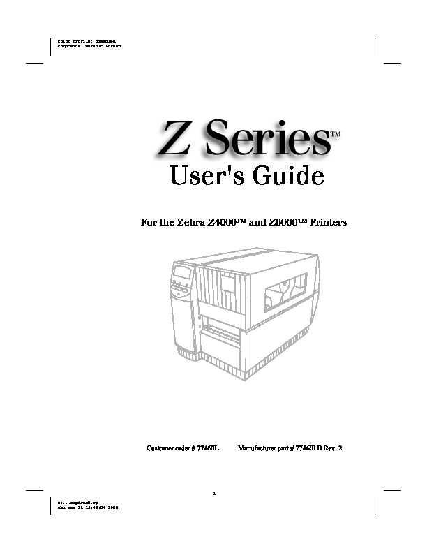 Zebra Z4000-Z6000 User Manual pdf Compaq Zebra Z4000-Z6000
