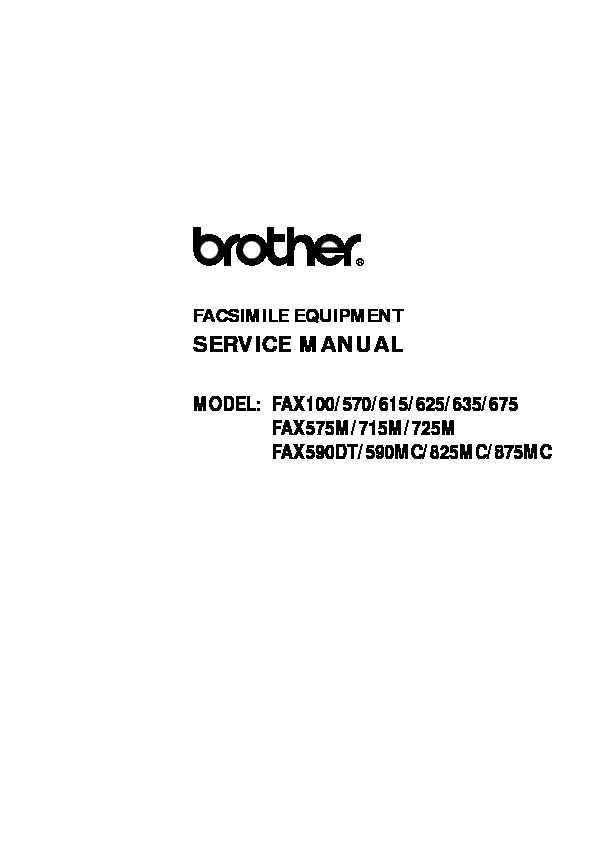 Brother Fax 100, 570, 615, 625, 635, 675, 575m, 715m, 725m