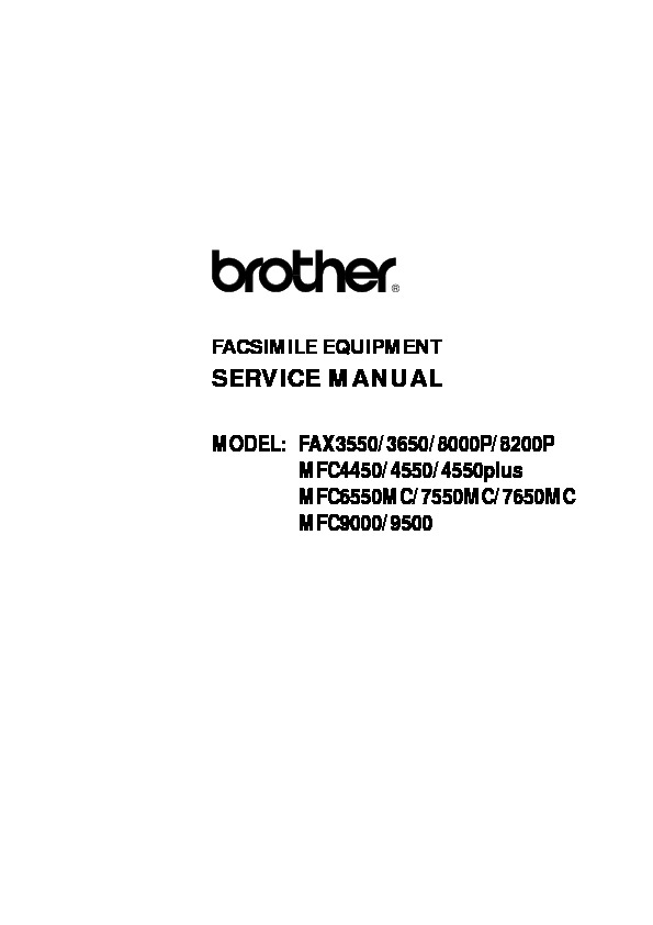 Brother Fax 3550, 3650, 8000p, 8200p, MFC-4450, 4550 Plus