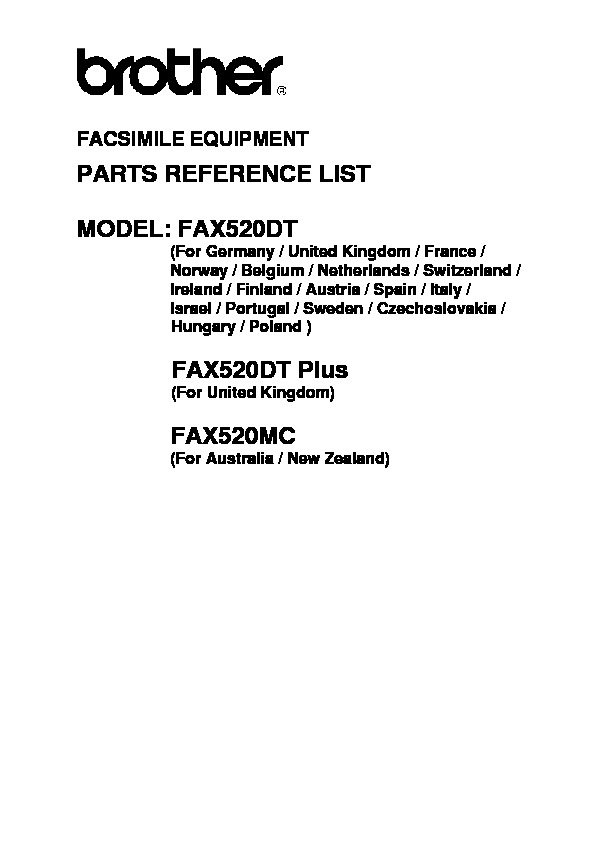 Brother Fax 520 Parts Manual pdf Brother