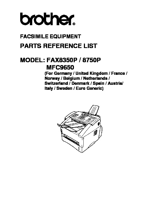 Brother Fax 8350p, 8750p, MFC-9650 Parts Manual pdf
