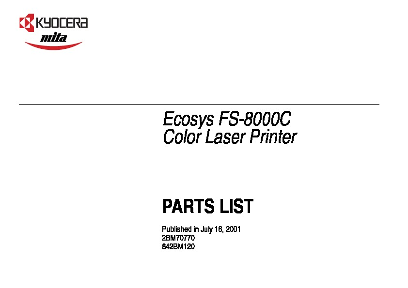 Kyocera 8000c Parts Manual pdf Kyocera Mita