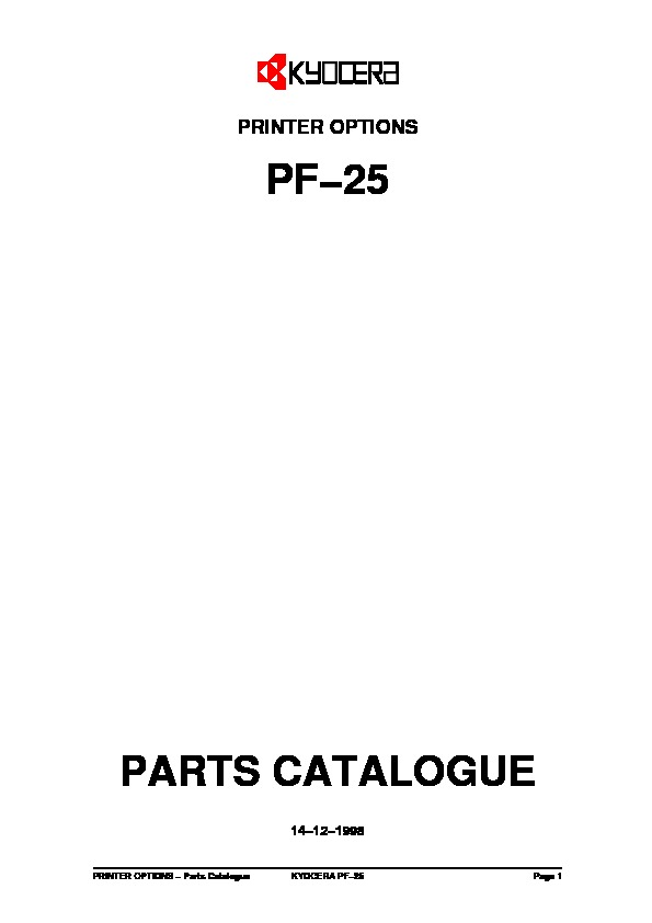 Kyocera Paper Feeder PF-25 Parts Manual pdf Kyocera Mita
