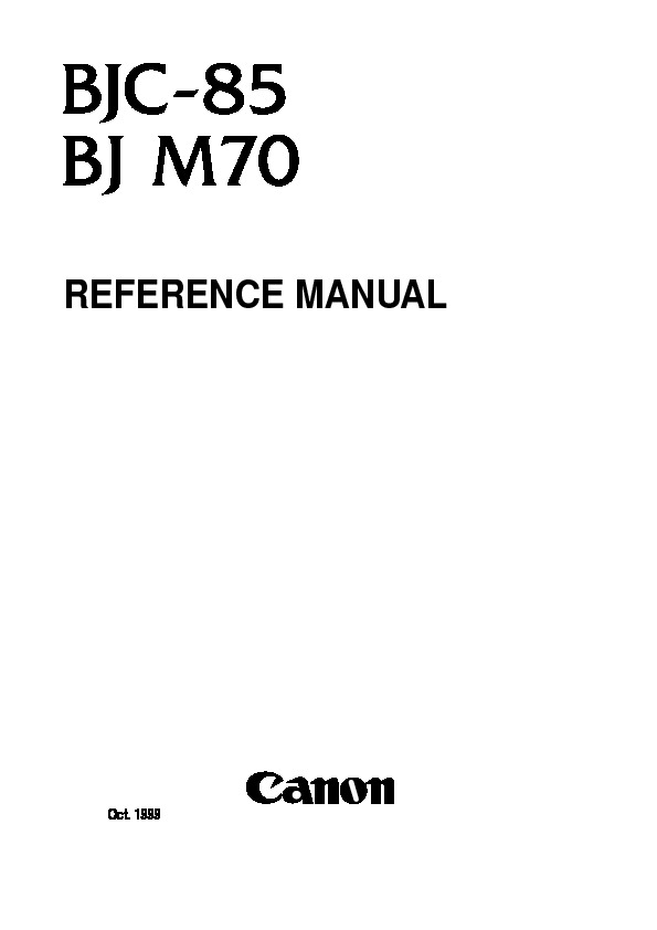 Canon BJC-85 Reference Manual pdf Canon