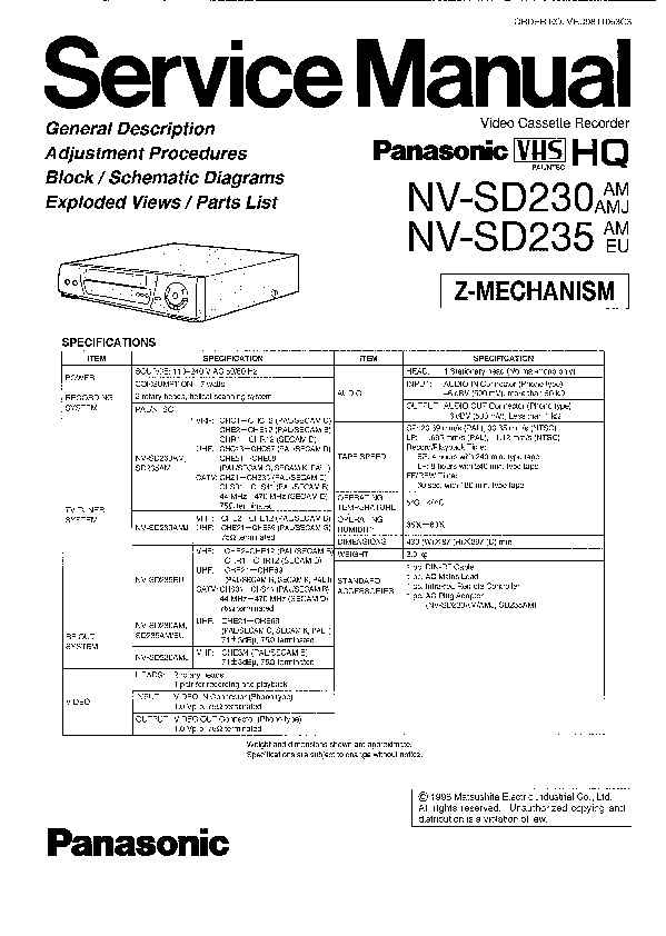 NV-SD230 SD235.pdf PANASONIC – Diagramasde.com