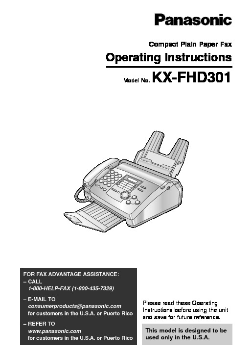 Panasonic KX-FHD301 Fax Machine.pdf Panasonic