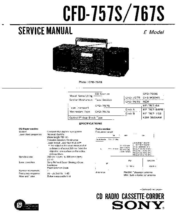 Sony CFD 757S, 767S pdf Sony CFD 757S, 767S pdf