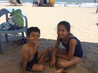 Gabo (6) and Angelina (12) were kind enough to smile for me before heading to the ocean to swim.