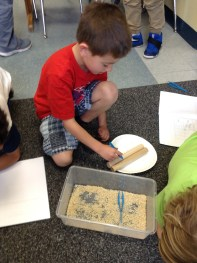 "First graders explored what is was like to be a bird and used a variety of ""beaks"" to get ""food."""
