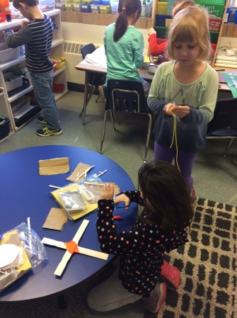 """Check out some of the hard working first graders making something that will help them """"go places,"""" just like in the book."""