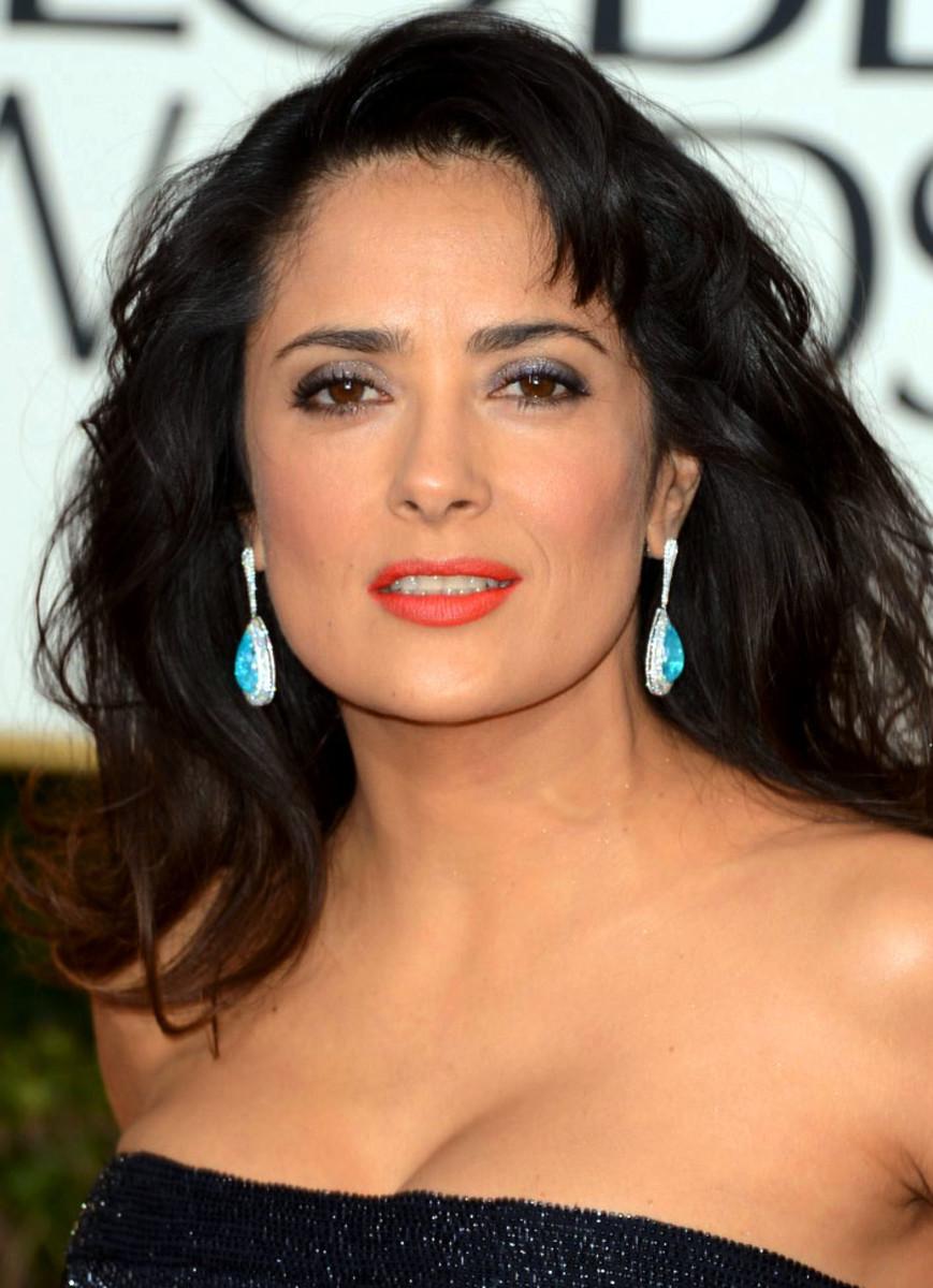 Red Carpet Makeup Salma Hayek Golden Globes 2013  Beautygeeks