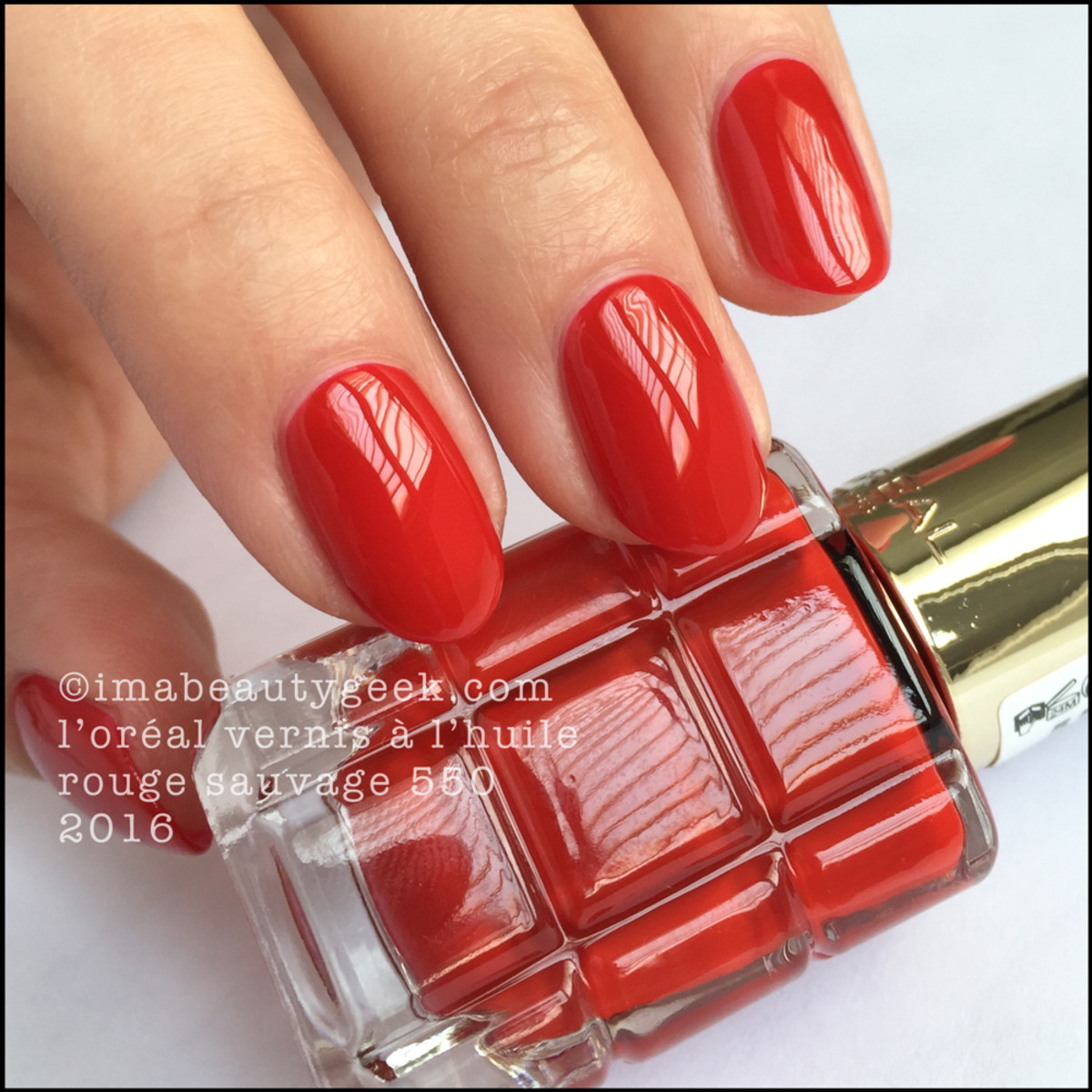Loreal Vernis A Lhuile Nail Polish Swatches Rouge Sauvage 550