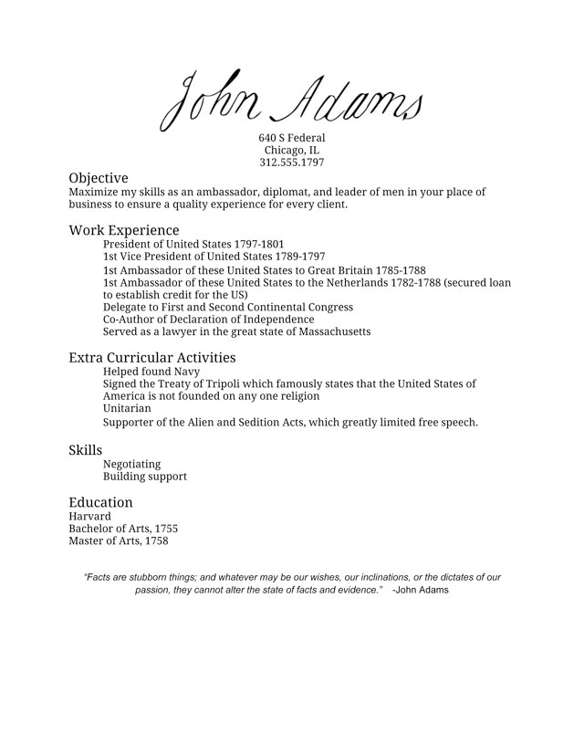 John Adams' Resume I Made America