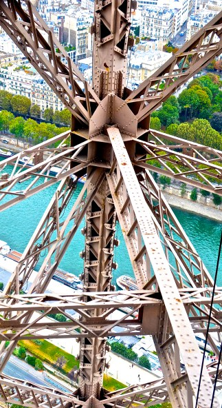 Taken from an elevator while riding down from the lower platform of the Eiffel Tower 2016