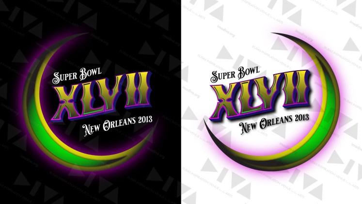 alternate 2013 Super Bowl 47 logo design New Orleans: Mardi Gras crescent moon