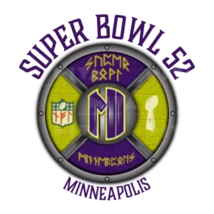 alternate 2018 Super Bowl 52 Minneapolis logo design: Viking shield