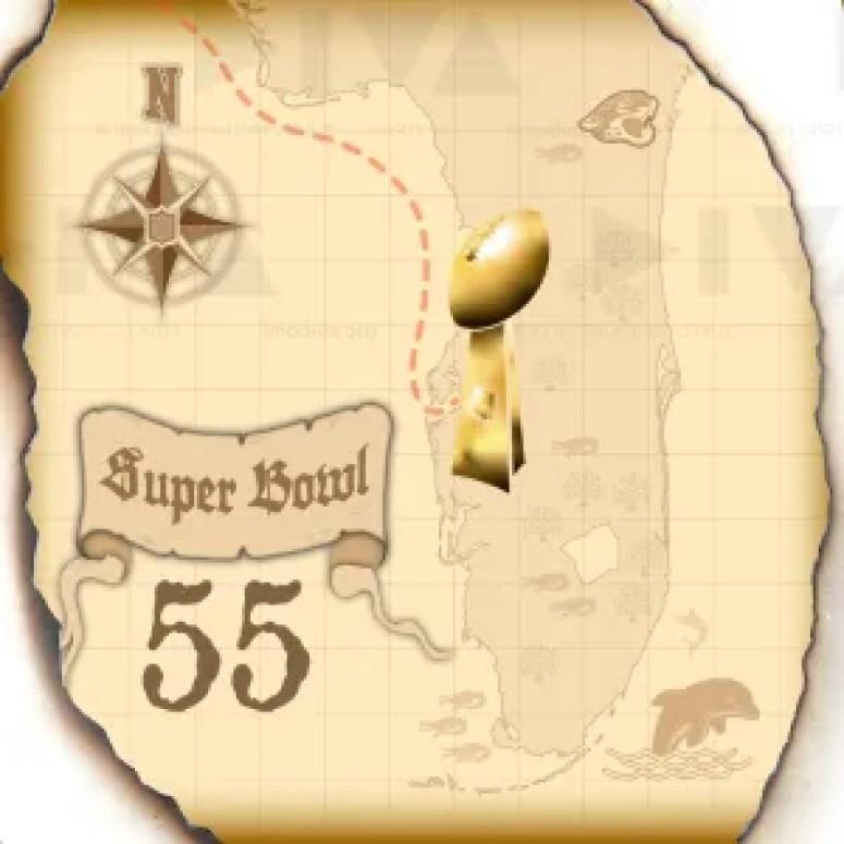 proposed alternate 2021 Super Bowl 55 Tampa logo design: treasure map