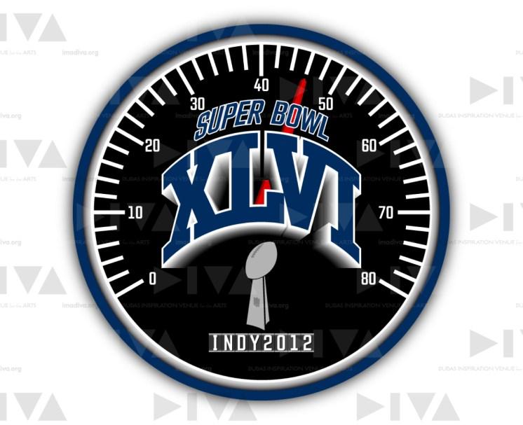 alternate 2012 Super Bowl 46 logo design Indianapolis: speedometer