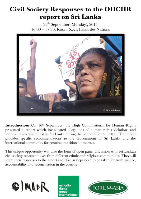 Invitation - HRC 30 side event_Civil Society Responses to the OHCHR report on Sri Lanka (4pm, Mon 28 September 2015, Room XXI)
