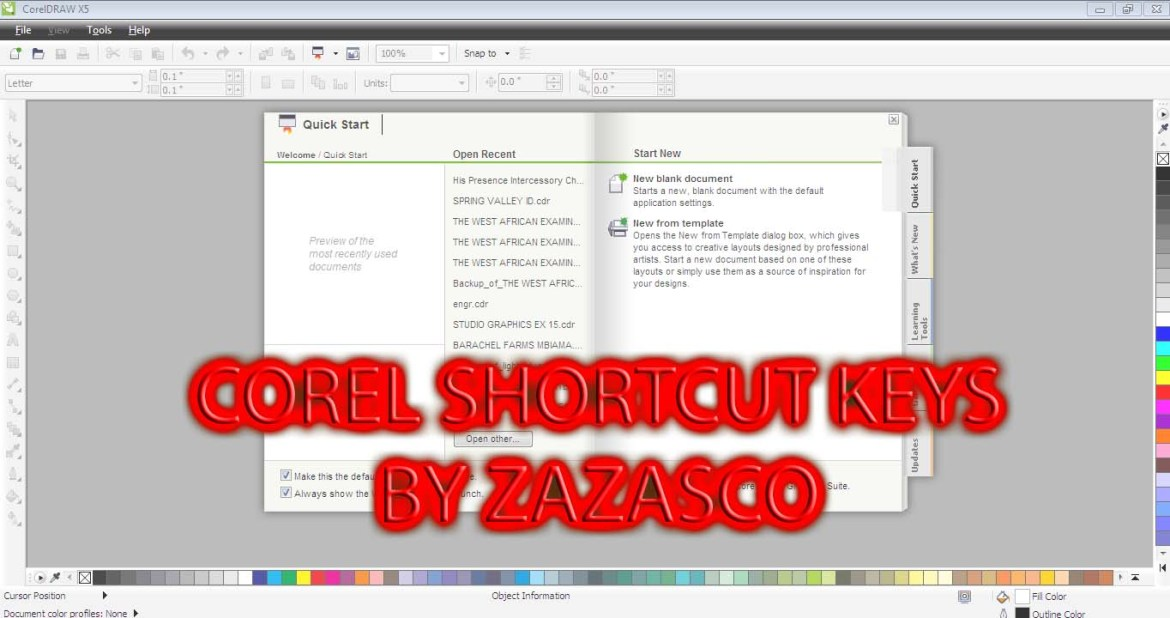 A-Z COREL DRAW SHORTCUT KEYS