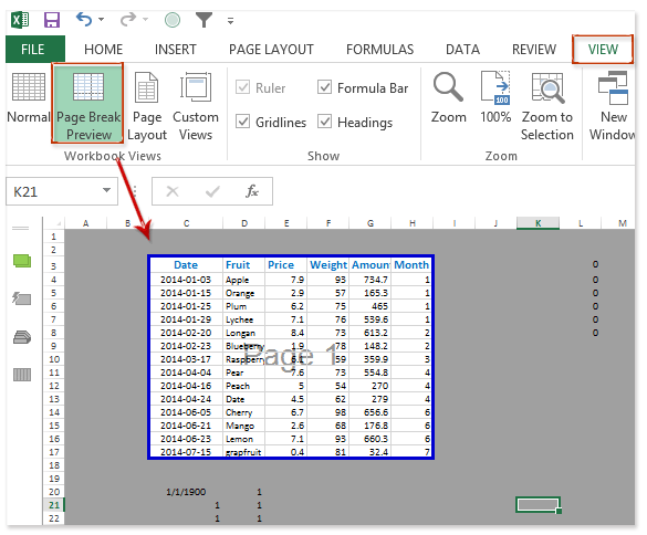 Fitting table to printable page – Excel