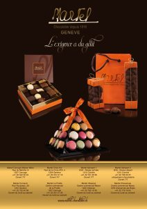 Affiche F4 pour Martel Chocolatier (Parking Mont-Blanc Genève)