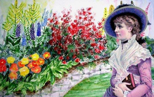 Ilustración de una joven lectora en jardín victoriano.