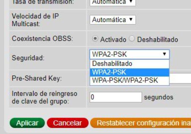 Elección del tipo de cifrado WPA2 para el router