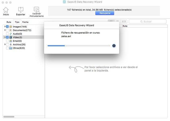 La operación de recuperación de archivos en EaseUS Data Recovery Wizard tardará más o menos en funci