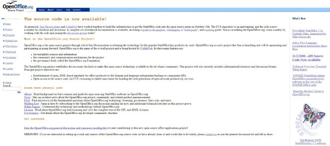 La web de OpenOffice.org anunciando el comienzo del proyecto de código libre