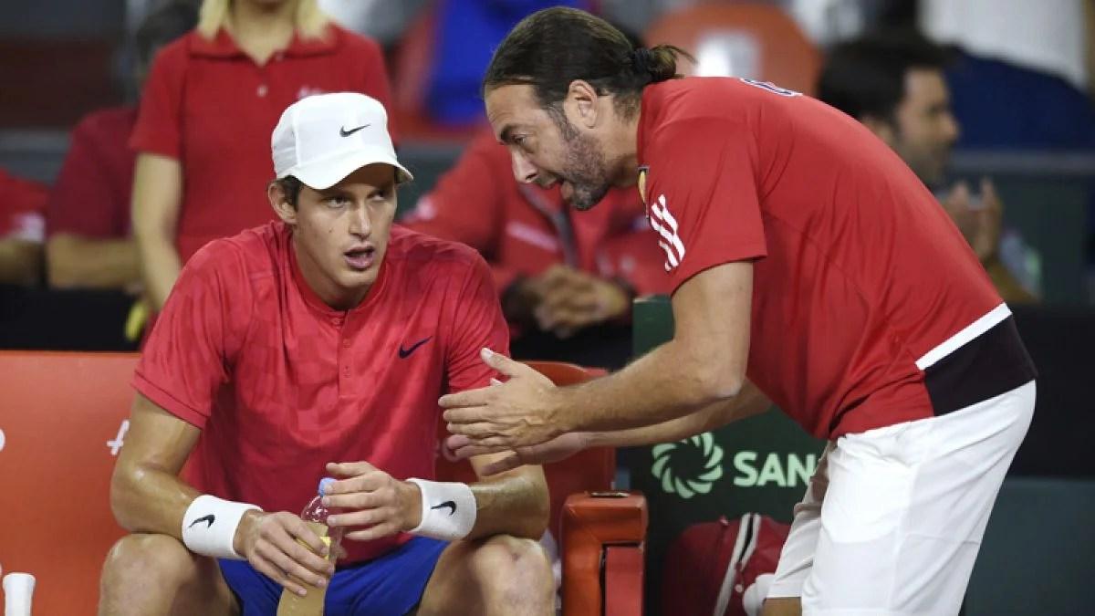 Nicolas Jarry durante la Copa Davis